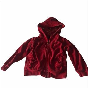 Tommy Hilfiger Red Velour Zip up sweater w/ hood